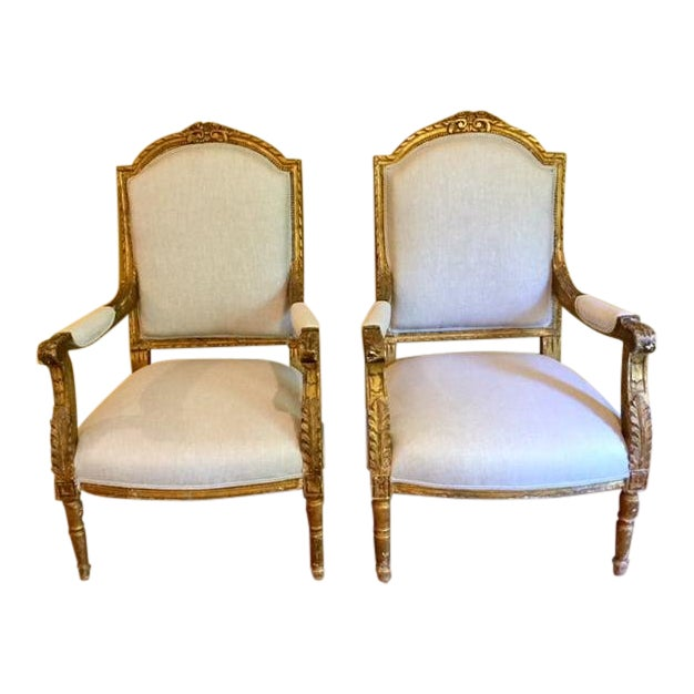 19th Century French Carved Gilt Arm Chairs - a Pair For Sale