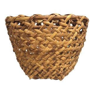 Antique Woven Rattan Basket For Sale
