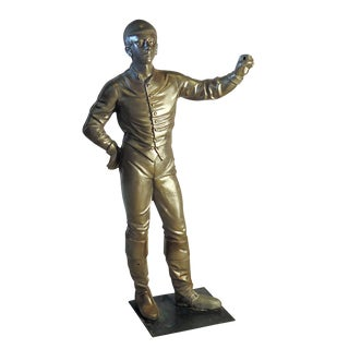 Vintage Brushed Steel Jockey Figurine For Sale