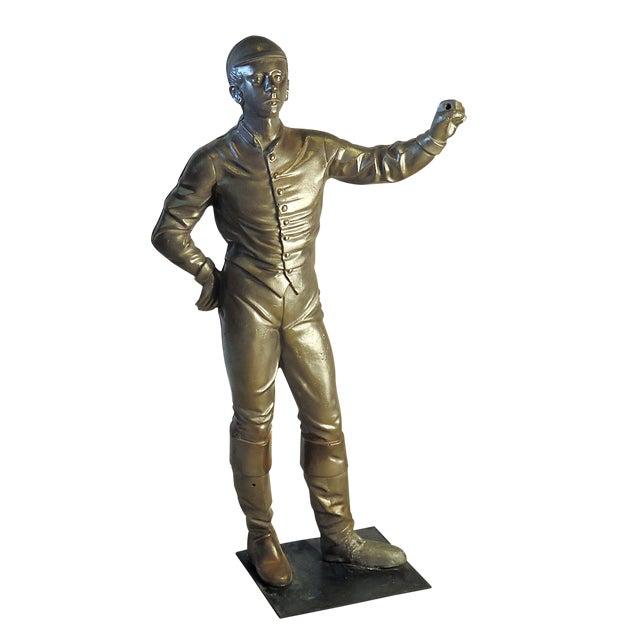 Vintage Brushed Steel Jockey Figurine For Sale