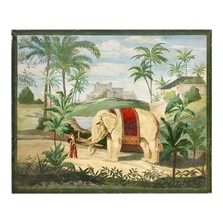 Hand Painted Vintage French Scenic on Canvas