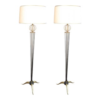 Maison Arlus Documented Pair of Standing Lamps With Globe and Tripod Legs
