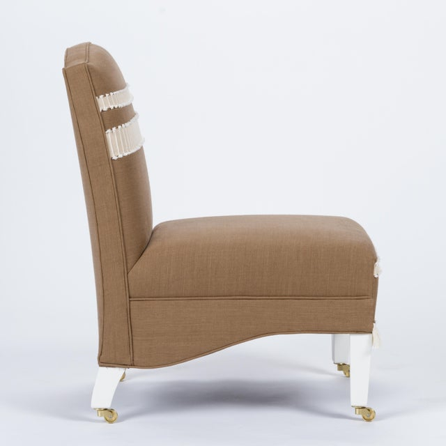 English Traditional Casa Cosima Sintra Chair in Hazel Linen, a Pair For Sale - Image 3 of 10