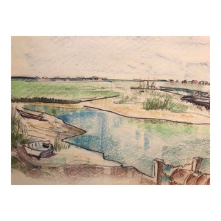 Vintage 1966 Pawley's Island South Carolina Mixed Media Painting For Sale