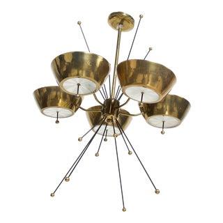 Mid Century Modern Sputnik Italian Chandelier in Brass Paavo Tynell Attr For Sale