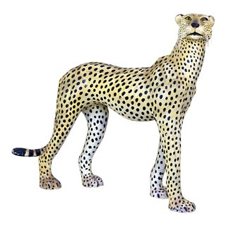 "22"" Tall Vintage Mid-Century Leather Cheetah For Sale"