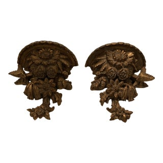1930s Vintage Giltwood Wall Brackets - a Pair For Sale