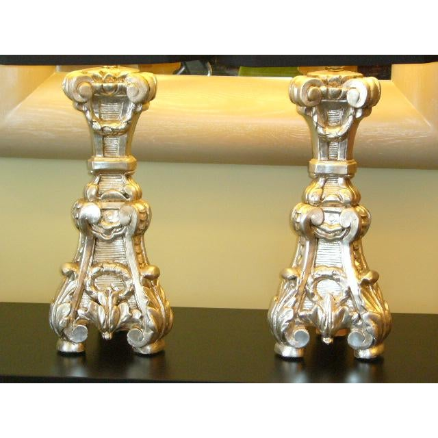 Exquisite carving & detail highlight this pair of Italian Baroque silver gilt corner altar prickets as table lamps....