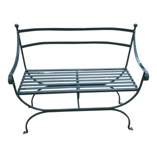 Cast Metal Williams Sonoma Garden Bench For Sale