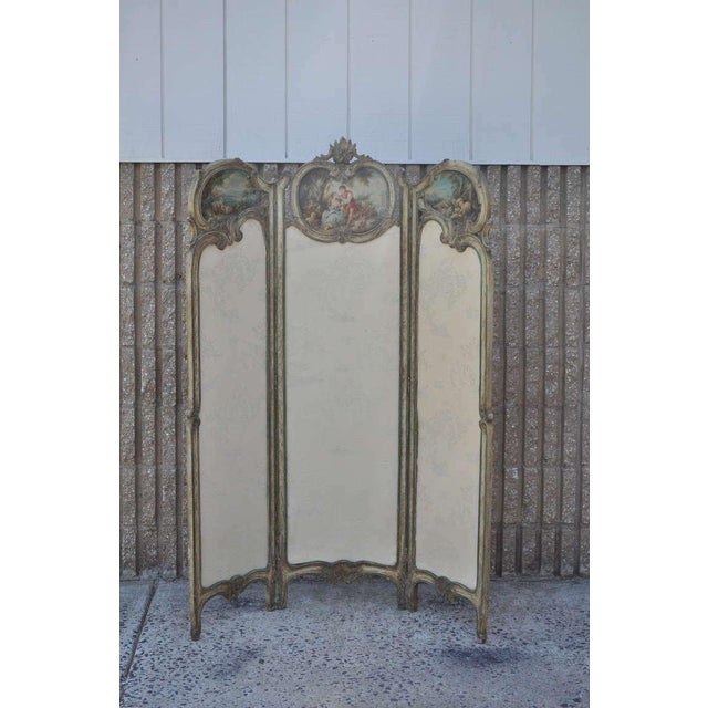 19th Century French Louis XV Style Hand Painted & Carved Petite Dressing Screen For Sale - Image 10 of 10