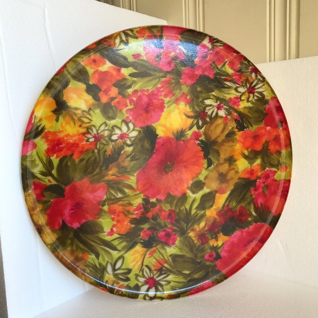 Mid-Century Floral Acrylic Serving Tray - Image 8 of 8