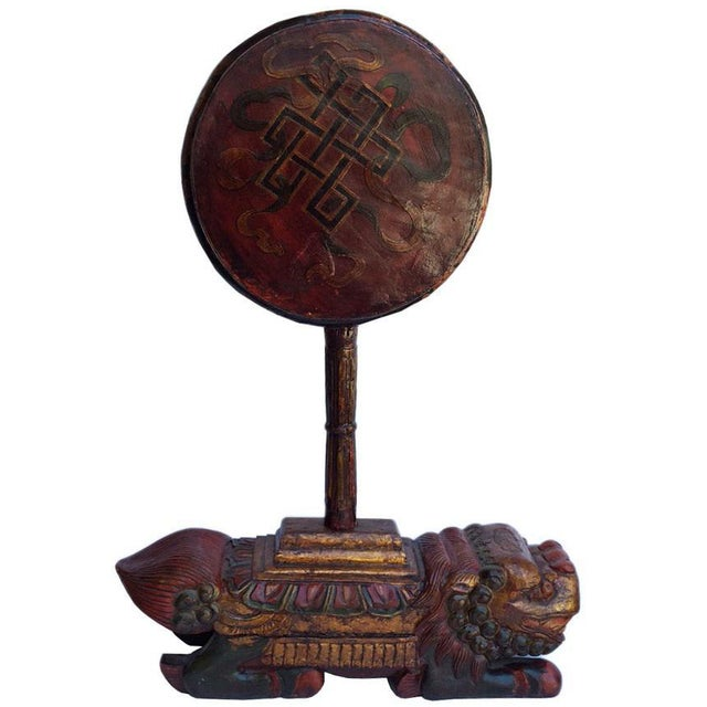 This is a Tibetan drum of music instrument. It can be separated into two pieces, and can be put into one piece. It is made...
