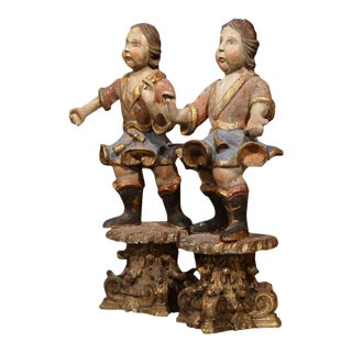 18th Century Italian Carved Polychrome Figures on Wooden Gilded Stands - a Pair For Sale