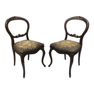 Antique Victorian Mahogany Round Balloon Back Parlor Side Chairs - a Pair
