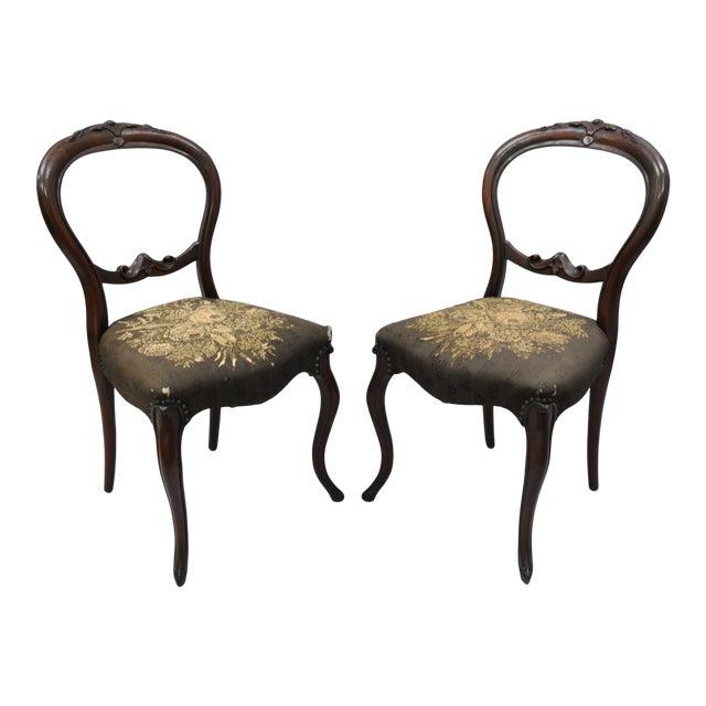 Antique Victorian Mahogany Round Balloon Back Parlor Side Chairs - a Pair - Antique Victorian Mahogany Round Balloon Back Parlor Side Chairs - A