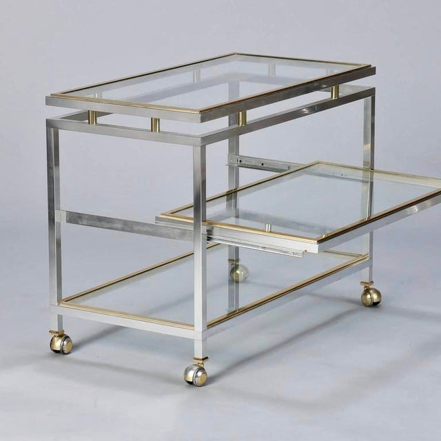 Mid Century Chrome Brass and Glass Serving Trolley in Style of Maison Jansen - Image 4 of 8