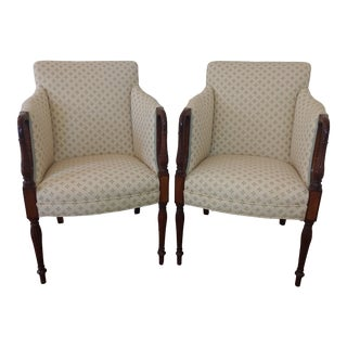 Council Furniture Pull Up Chairs Upholstered in Scalamandre - A Pair For Sale