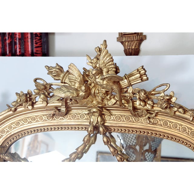 Gold Elaborate 19th Century Louis XVI Style Gilt Mirror For Sale - Image 8 of 12