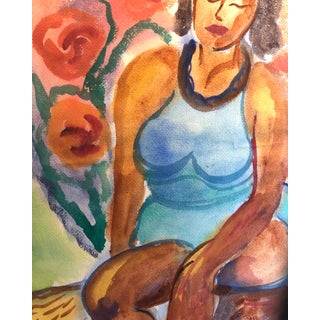 1960s Fauvist Tropical Female Watercolor Painting Preview