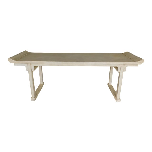 """McGuire of San Francisco Distressed Finish Pagoda Style Console Table 96""""w For Sale"""