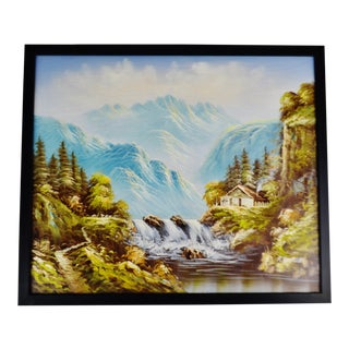 Vintage Framed R. Boren Signed Mountain Waterfall Oil on Canvas Painting For Sale
