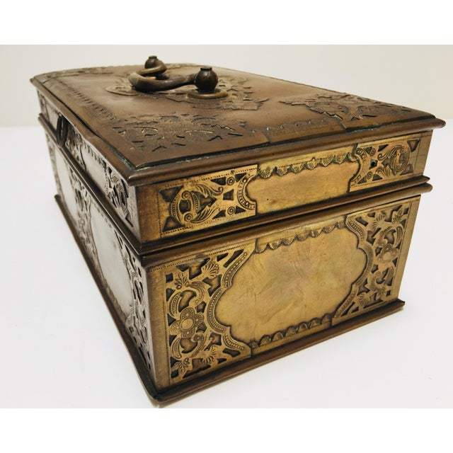 Antique Anglo Indian Georgian Brass Desk Box For Sale - Image 4 of 12