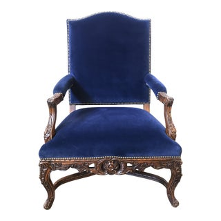 Ralph Lauren Home Carved Provence Chair in Velvet For Sale