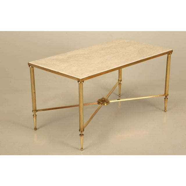French Mid-Century Modern Coffee or Cocktail Table in Polished Solid Brass For Sale - Image 9 of 9