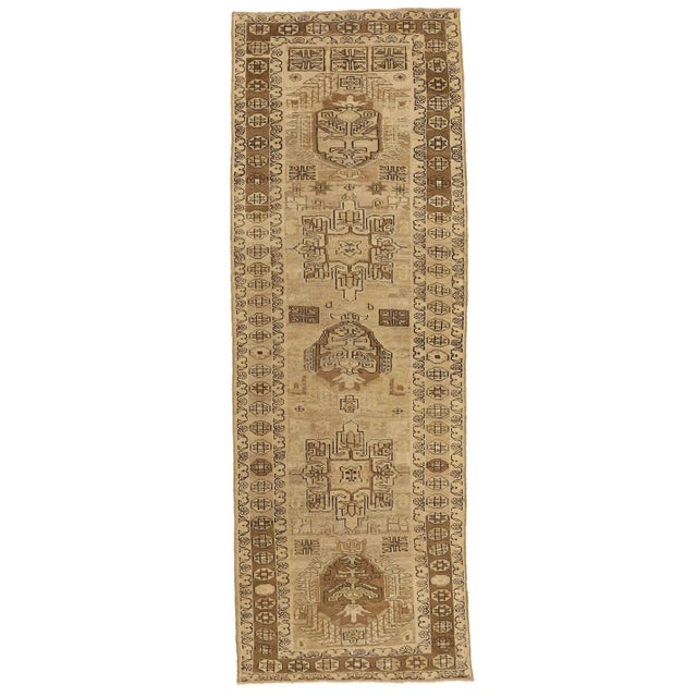 Antique Persian Rug Saisan Style With Unique Geometric Patterns Circa 1950's - 3′ × 8′8″ For Sale - Image 11 of 11