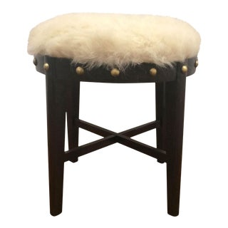 Mid Century Stool With Faux Fur For Sale