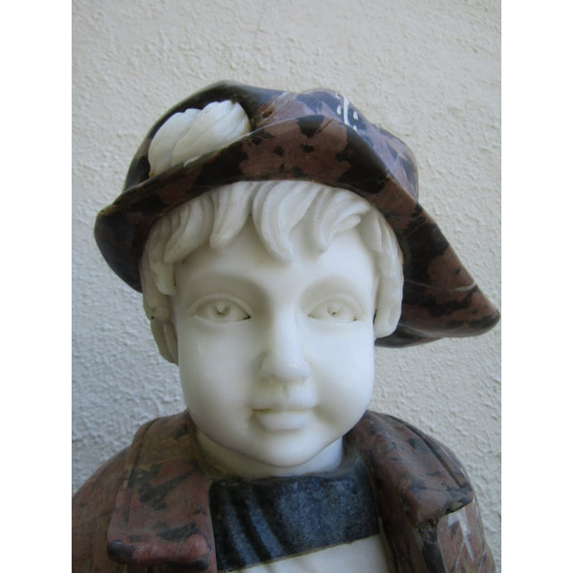 Metal Granite Statue of a Boy Holding a Skateboard For Sale - Image 7 of 11