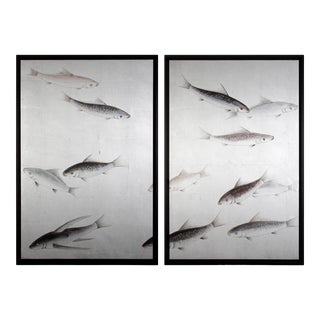 Koi Fish Painted on Silver Leaf Diptych/Pair For Sale