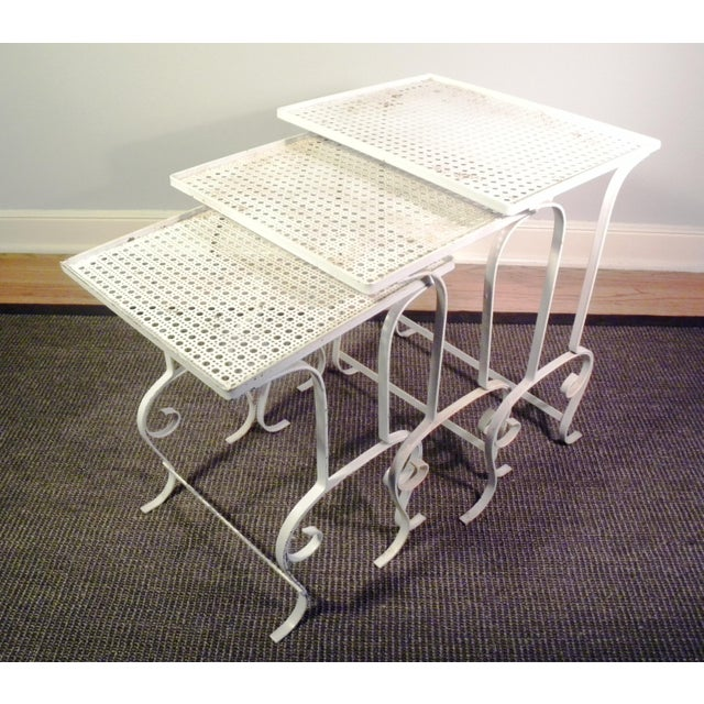 White Metal Nesting Tables - Set of 3 - Image 2 of 8