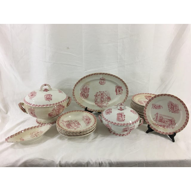 Red and White Digoin & Sarreguemines Faience Dinner Set - Set of 26 For Sale - Image 13 of 13