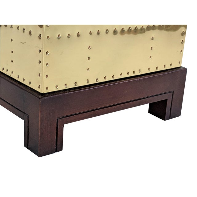Sarreid Ltd. 1990s Hollywood Regency Sarreid Brass Studded Cube Side Table For Sale - Image 4 of 13