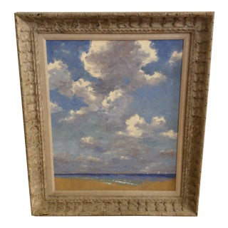 1960s Vintage David Eugene Henry Ocean and Clouds Oil Painting For Sale