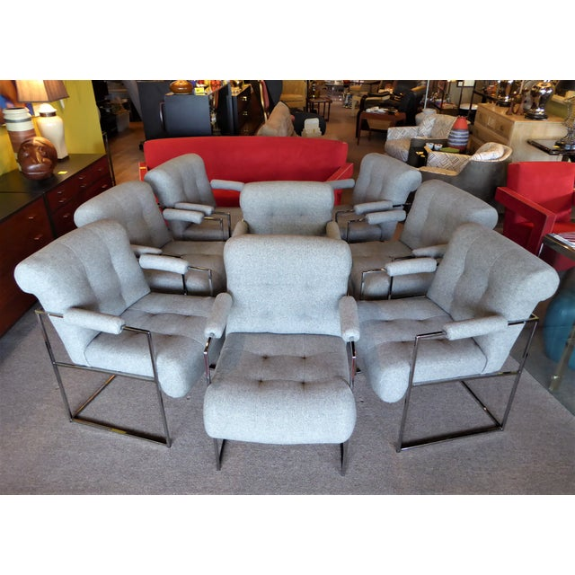 Mid-Century Modern Set of 8 Modern Milo Baughman Thin Line Armed Dining Chairs For Sale - Image 3 of 11