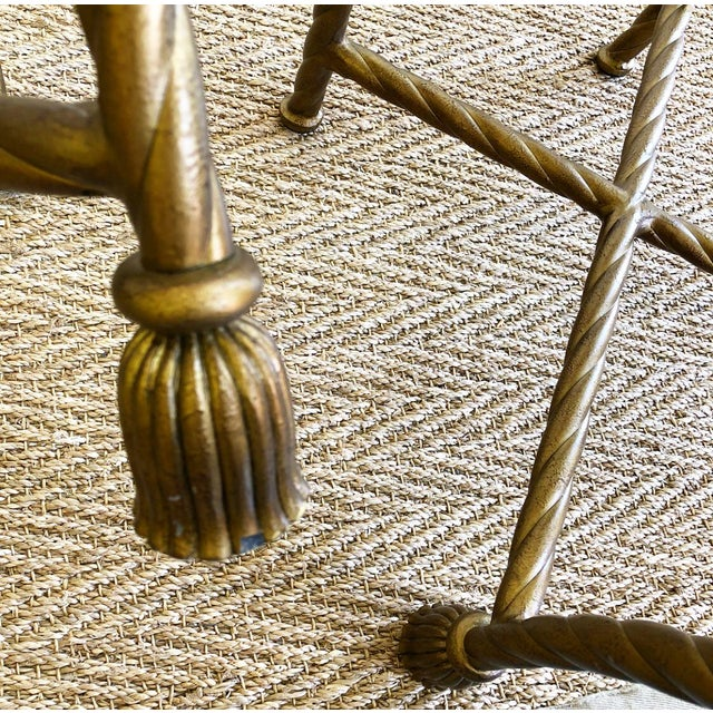 Gold Pair Napoleon III Style Gilt Rope & Tassel Metal Side Chairs For Sale - Image 8 of 10