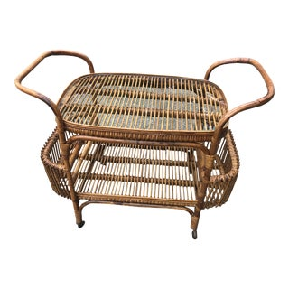 Vintage Boho Chic Rattan and Bamboo Bar Cart For Sale