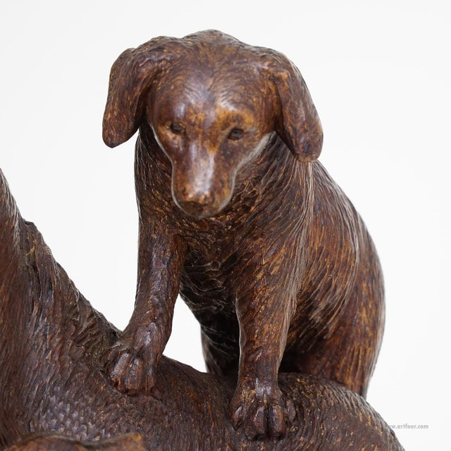 Black Forest Carved Mother Dog With Puppies - Brienz Ca. 1900 For Sale - Image 4 of 10