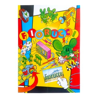"Original Vintage 1981 Rare Fiorucci "" Arizona "" New Wave Italian Fashion Post Modern Lithograph Print Poster For Sale"