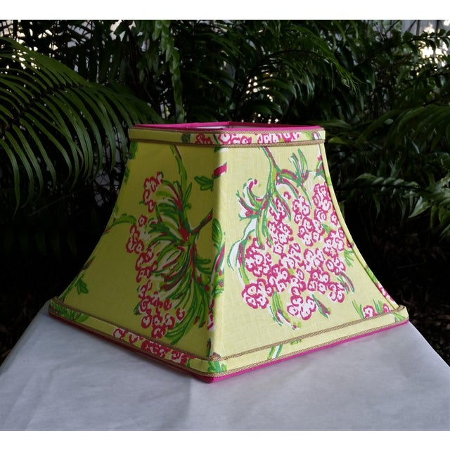 White Lilly Pulitzer Fabric Lampshade Hot Pink Green Tropical Floral For Sale - Image 8 of 10