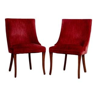 Raspberry Velvet Regency Style Side Chairs - a Pair For Sale