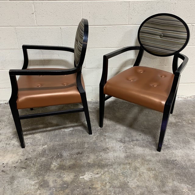 Art Deco Style Accent Arm Chairs - a Pair For Sale - Image 4 of 13