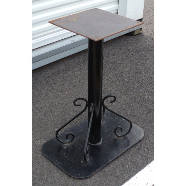Antique Black Painted Art Deco Cast Iron Table Base For Sale - Image 4 of 11