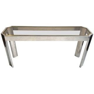 Elegant Aluminium Brass and Glass Console / Sofa Table For Sale