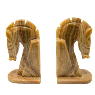 Marble Horse Head Bookends - a Pair For Sale