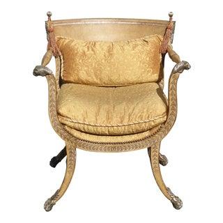 Vintage Ferguson Copeland Ltd Gold Leather Accent Chair W Lion Handrests Finials For Sale