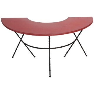 1950s Red Leather and Faux-Bamboo Demilune Desk Table For Sale