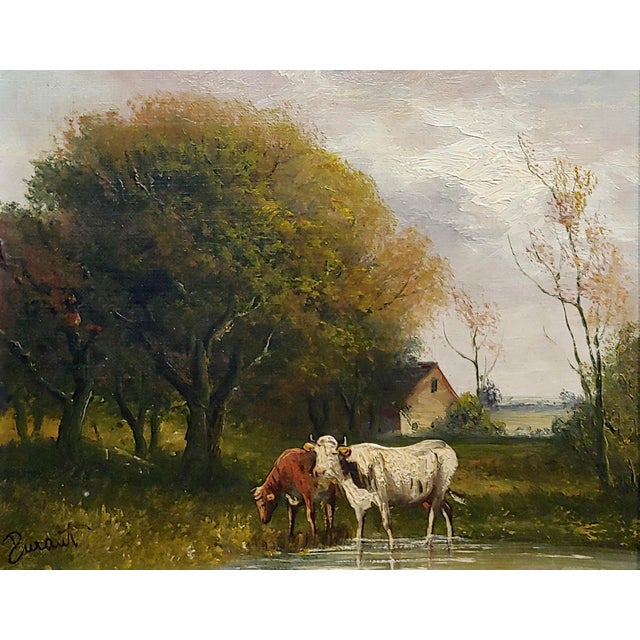 French Jaques Durant -Landscape W/ Cows-Impressionist Oil Painting-C1860s For Sale - Image 3 of 10